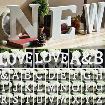 White Wooden Letter English Alphabet DIY Personalized Name Design Art Craft Free Standing A-Z Letters Party Wedding Home Decor image