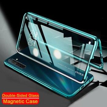 Перейти на Алиэкспресс и купить Чехол с магнитной адсорбцией для Realme X3 SuperZoom 6i X50 Pro 6 Pro двухсторонний из закаленного стекла металлическая задняя крышка бампер оболочка