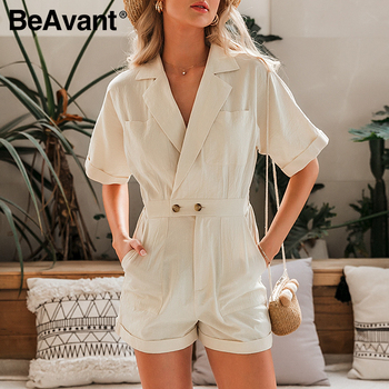 BeAvant Solid Beige Women Short jumpsuit romper High Waist Casual Playsuit Cotton Female Spring summer V Neck Sexy overalls 2020 3
