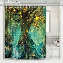 цена на Psychedelic Wishing Tree Shower Curtain 3D Forest Bathroom Shower Curtain Waterproof Fabric Bath Curtain cortina de ducha 8 Size