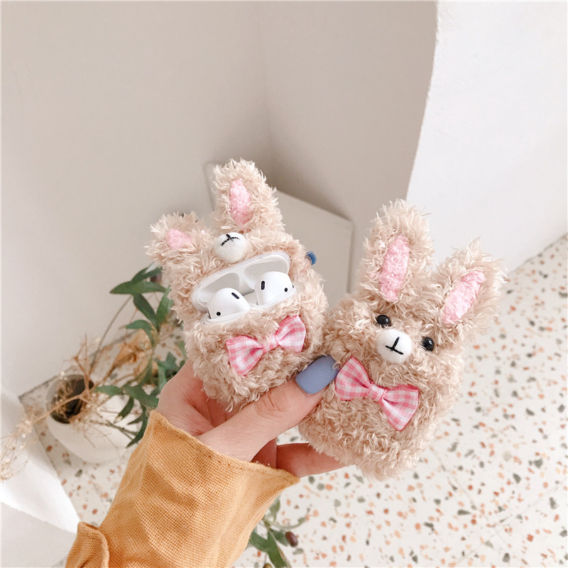 3D Cute Earphone Case for Airpods Cartoon Cover Apple 2 Plush Rabbit Wireles Bluetooth
