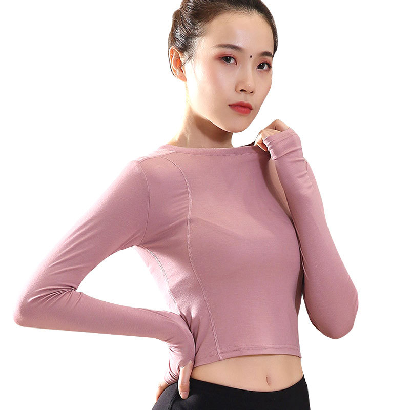 SALSPOR Women Long Sleeve Sport Shirts Solid Color Cropped Yoga Top High Elastic Tight Gym T-Shirts Running Fitness Sportswear