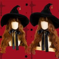 Retro Witch Hats Masquerade Bandage Bow Wizard Hat Adult Gothic Lolita Cosplay Costume Accessories Halloween Party Dress Decor