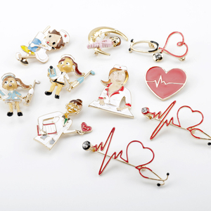 Doctor Nurse Brooches Medical Enamel Pins Stethoscope Electrocardiogram Brooch Jewelry Cute Metal Pin for Doctor