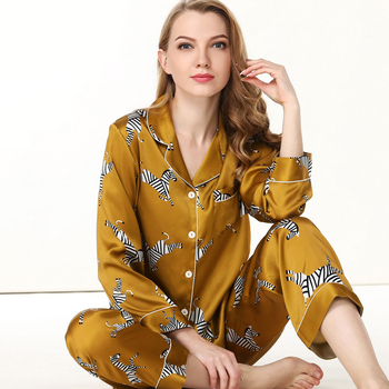 100% Silk Pajamas Sets Female Spring Summer Long Sleeve Pyjamas Sets Printed Silk Woman's Sleepwear Clothes Pants Two-Piece Silk