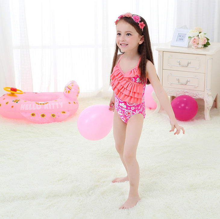Creative KID'S Swimwear Small Children GIRL'S Students Orange Cake Sweet Hot Springs One-piece Swimwear