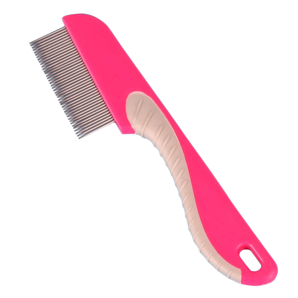 Practical Cat Dog Fine Toothed Manual Supplies Flea With Handle Grooming Hair Lice Stainless Steel Pet Comb