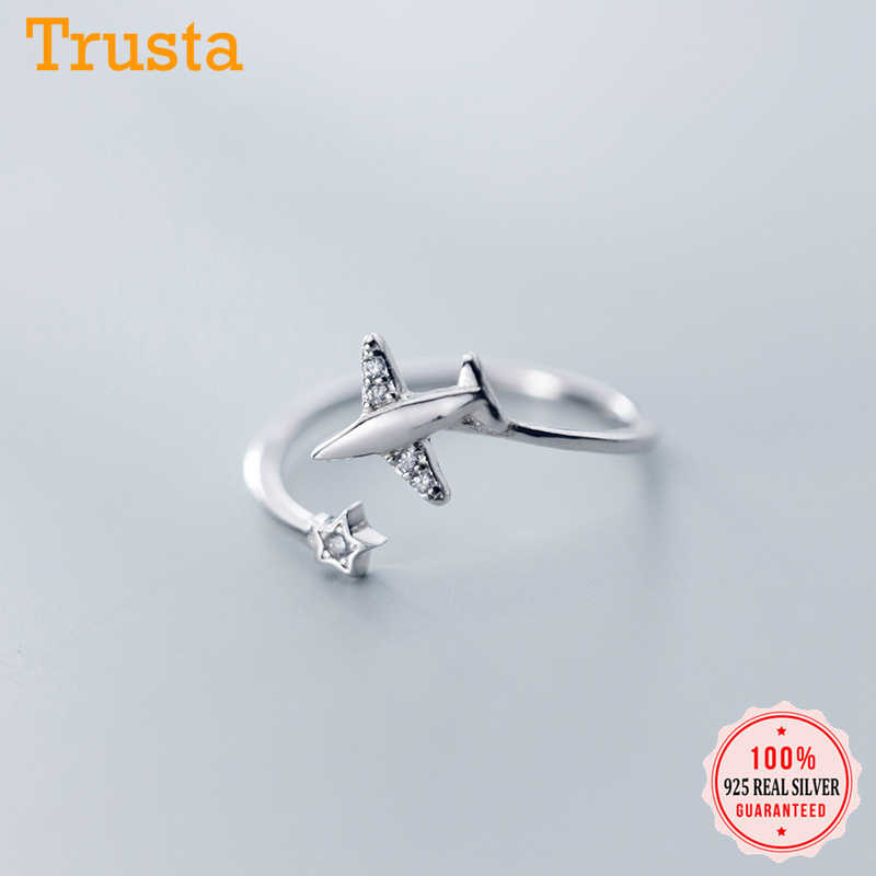 Trusta 925 Silver Plane Ring CZ Opening Fashion Jewelry Pure 100% 925 Sterling Silver Finger Rings Best Gift for Friends DS1714
