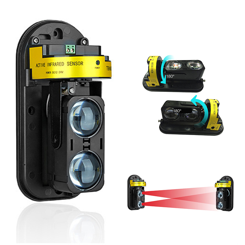 IR Beam Infrared Invisible Barrier Detector Alertness 100m Alarm Transmitter Receiver 12-24V multilevel LED RFI EMI Home Garden