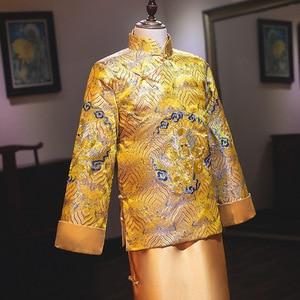 Image 4 - Распродажа, костюм Мао, одежда для мужчин, новая коллекция жениха, женатое платье в китайском стиле, весна 2020, мужские золотые Xiuhe