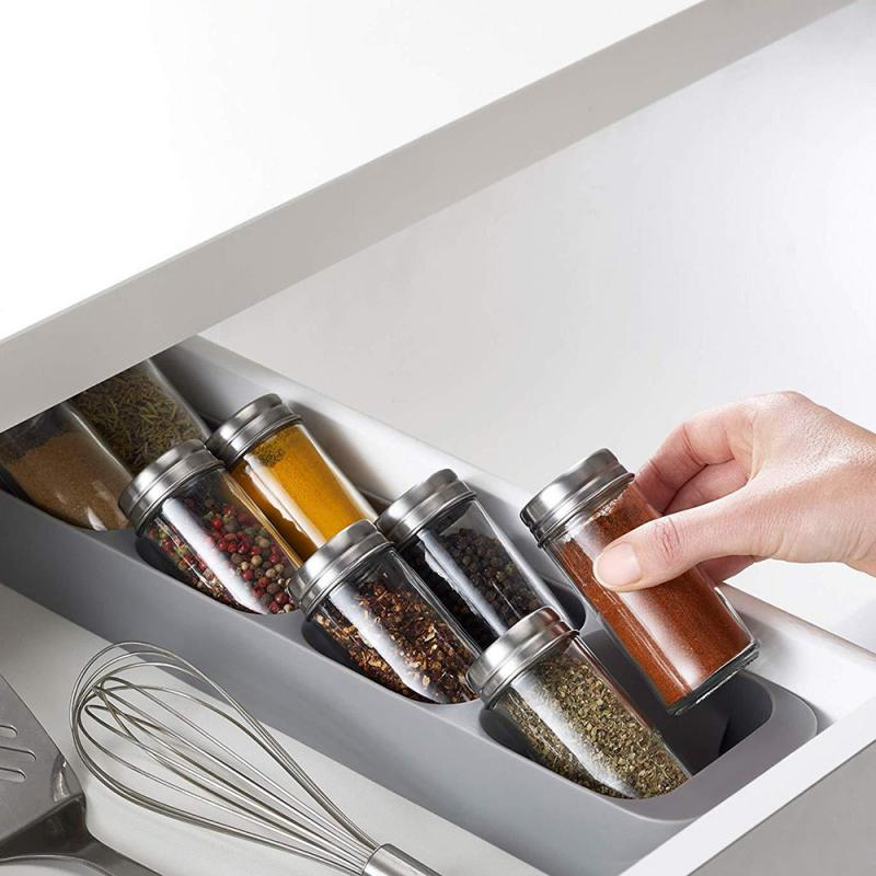 Food Grade PP Kitchen Drawer Organizer Tray Spice Jar Storage Box Salt Pepper Seasoning Bottle Storage Container