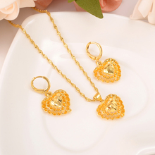Gold dubai heart African jewelry Set  Necklace pendant Earrings Eritrea wedding bridl jewelry for women sweater chain gifts adixyn ethiopian jewelry set gold color crystal necklace earrings pendant ring bangle eritrea wedding habesha jewelry