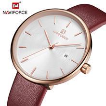 NAVIFORCE Fashion Simple Women Quartz Watches Top Luxury Brand Ladies Watch Leather Strap Auto Date Analog Clock Relogio Feminin