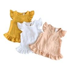 Летние блузки с рюшами на рукавах для девочек; топы из льна и хлопка; кружевные повседневные рубашки для маленьких девочек; одежда для детей; рубашки; платье