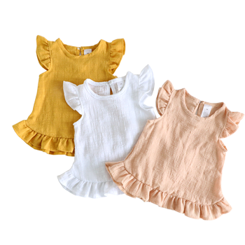 Ruffle Sleeve Summer Girls Blouses Tops Linen Cotton Lace Casual Children Kids Baby Girl Clothes Shirts Dress spring fall teenager long sleeve shirts fashion 2019 kids girls plaid blouses cotton lace tops for baby girl children clothing