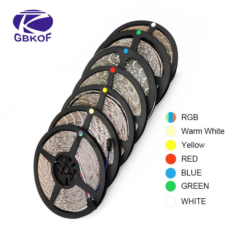 RGB 300 LED strip light 5m 60LEDs/m 5050 SMD 2835 White Warm White Red Blue LED strip 12V Waterproof flexible Tape rope stripe(China)