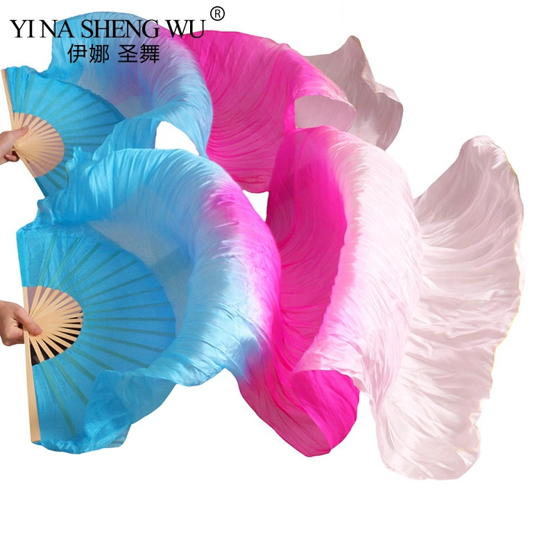 High Quality Chinese Real Silk/ Imitation Silk Veil Belly Dance Fans 1Pair  Belly Dance Long Fans Handmade Dyed Dance Props