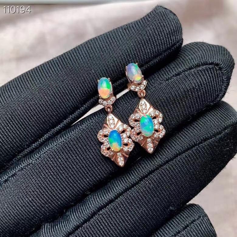 KJJEAXCMY boutique bijoux 925 en argent sterling incrusté opale naturelle femelle boucles d'oreilles détection de soutien - 6