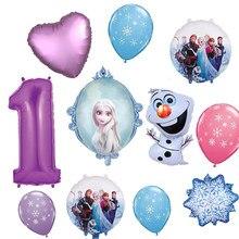 Festa congelada suprimentos 1st aniversário balão bouquet olaf elsa anna decorações roxo number1 balão para fontes de festa