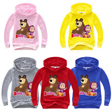 2020 printemps automne Masha sweat à capuche enfants garçons ours sweat filles sweat russe princesse Costume enfants vêtements(China)
