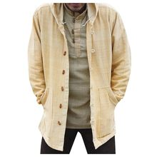 Mens Ethnic Style Long Sleeve Loose Casual Shirt Hooded Coat Blouse Tops autumn coat man coats and jackets man plus size(China)