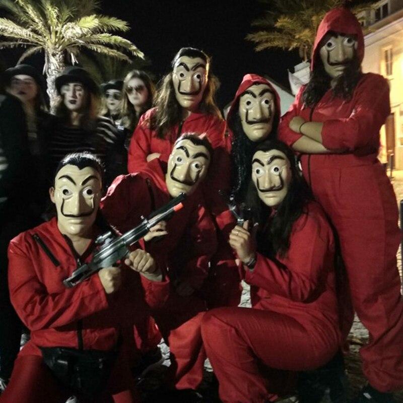 2019 date Salvador Dali film La maison De papier La Casa De Papel Cosplay fête Halloween masque argent Heist Costume et masque