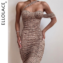 Ellolace Sexy Leopard Midi Dress Women Animal Elegant Slim Female Dresses Autumn 2019 New Lady Backless Ruched