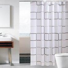 Rideau de douche en PEVA imperméable à motif de grande grille, Transparent, produit de salle de bain avec crochets de haute qualité, 1 pièce