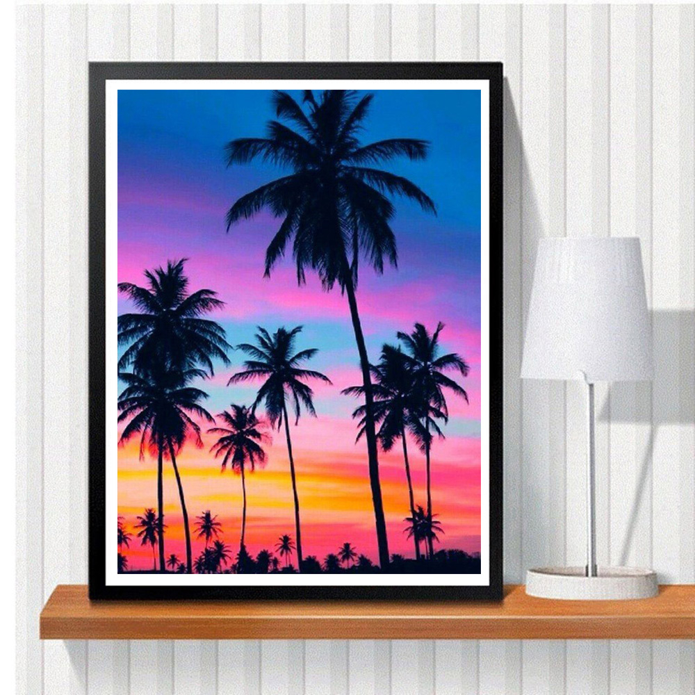 HUACAN 5D DIY Diamond Painting Tree Scenery New Arrival Diamond Mosaic Sunset Full Square Emboridery Home Decor
