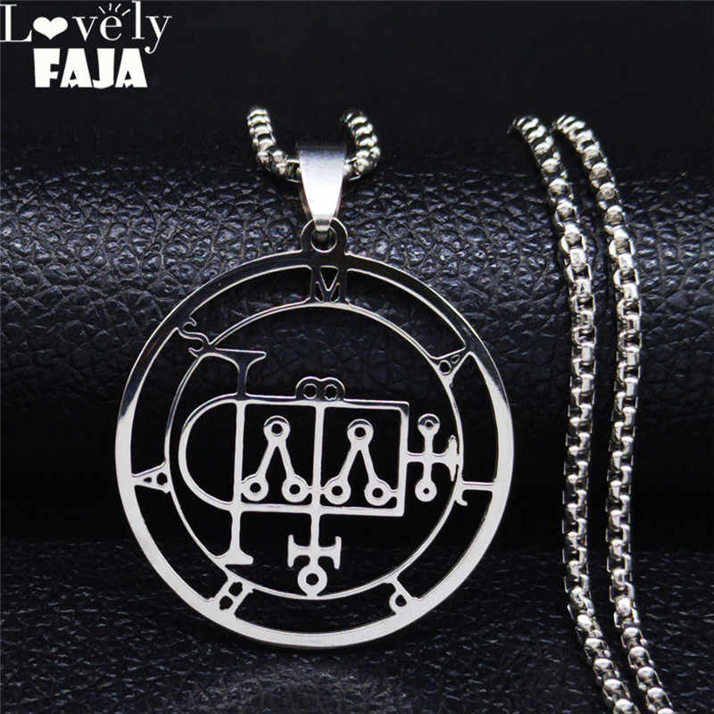 2020 nowa stal nierdzewna Demon Seal Chain naszyjnik kolor srebrny szatan MALPHAS dla naszyjniki mężczyźni/kobieca biżuteria N1248S03