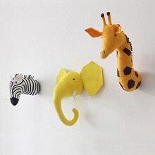 3D голова животного настенное крепление Зебра/Слон/Жираф мягкие игрушки для детей Детская комната Настенное подвесное украшение подарок на день рождения Рождество