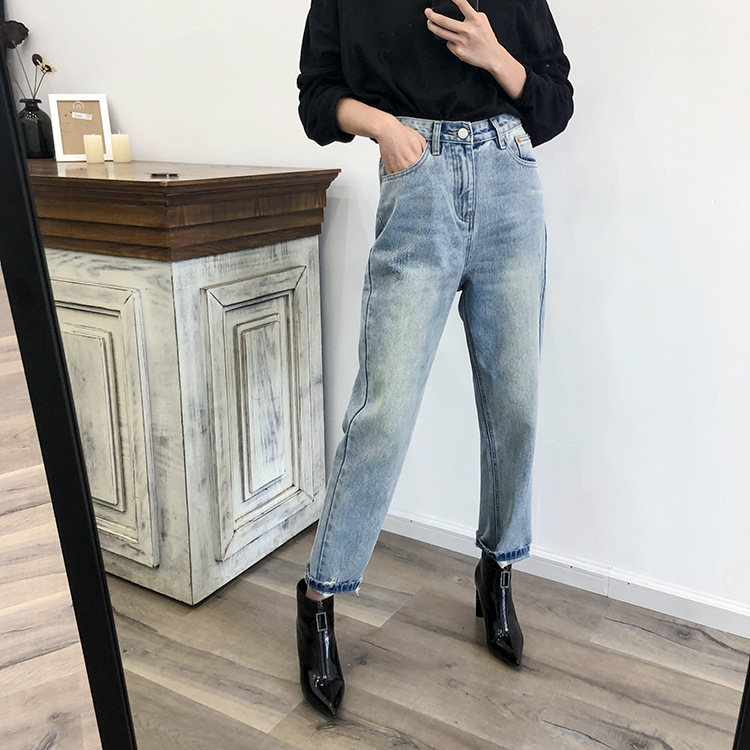 Zmra Autumn And Winter Korean-style New Style WOMEN'S Dress Loose-Fit Faded Light Color Harem Jeans WOMEN'S Pants Fashion
