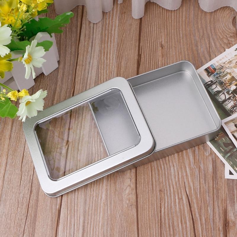 Прозрачный чехол для хранения с металлическим жестяным ящиком и прозрачным окном|Бутылки и банки для хранения|   | АлиЭкспресс