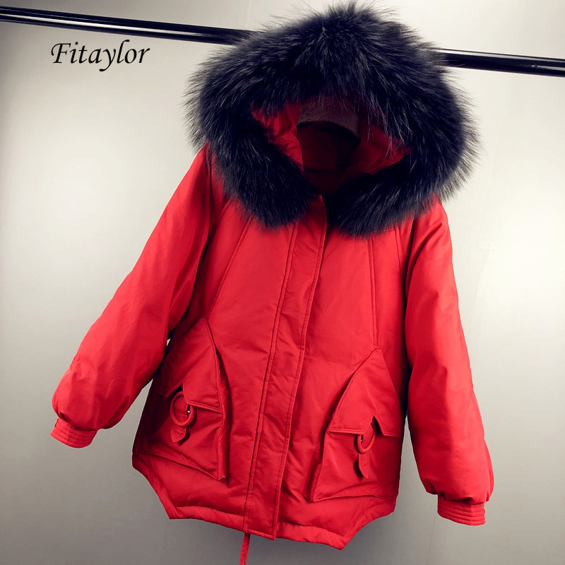 Fitaylor Winter Women Down Jacket Warm Large Natural Fur Collar White Duck Down Parka Casual Female Loose Thick Down Outwear
