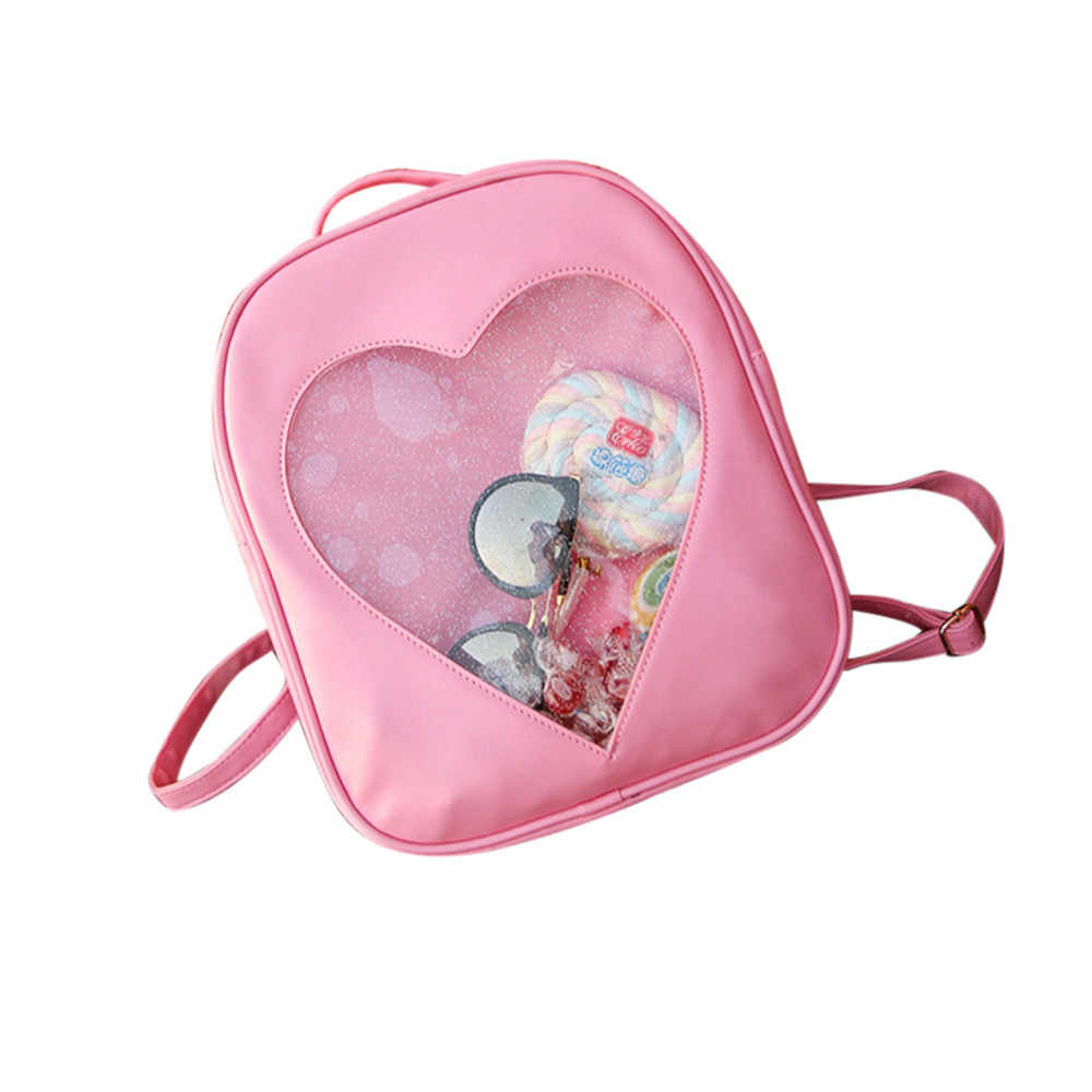 Doces cor do plutônio couro ita saco diy amor transparente coração forma mochila kawaii harajuku schoolbags para adolescentes dropship