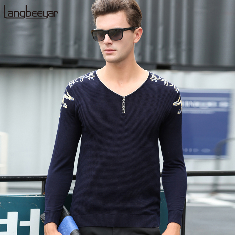 2019 New Fashion Brand Sweater For Mens Pullovers V Neck Slim Fit Jumpers Knit Woolen Autumn Korean Style Casual Clothing Men