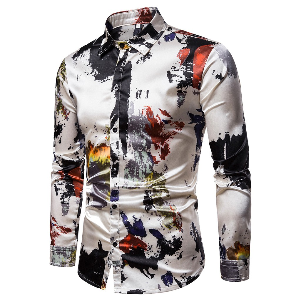 Printed Shirts Chemise Slim-Fit Satin Silk Long-Sleeve Tops Homme Men's New S-2XL title=