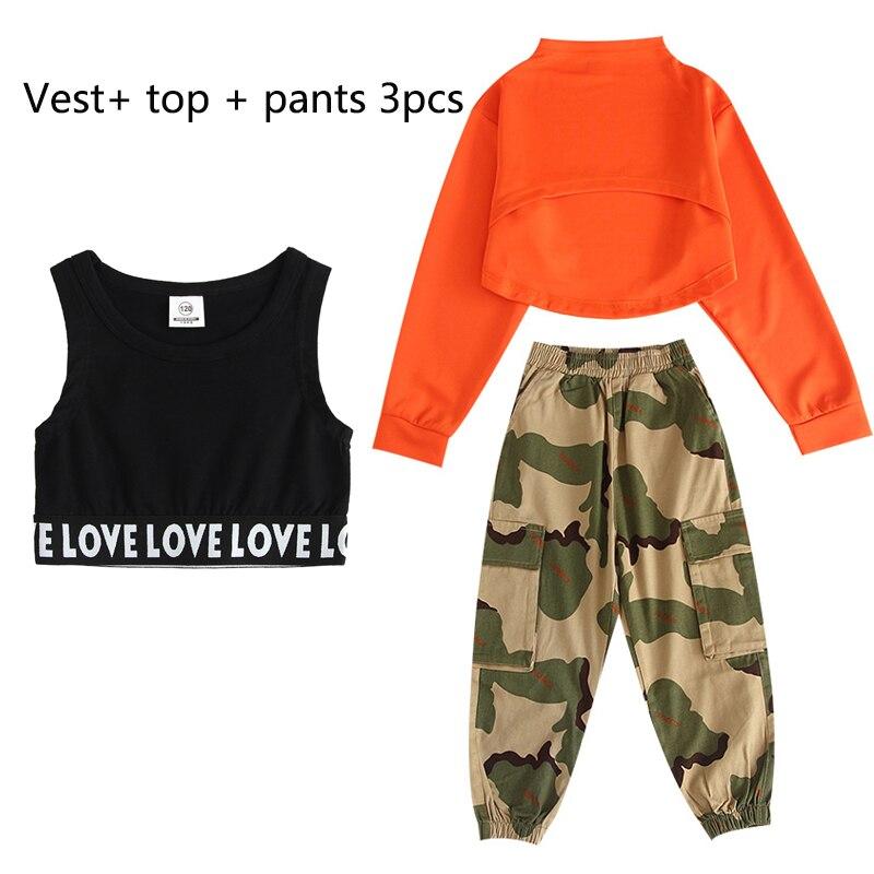 Детские костюмы для джазовых танцев, Летний жилет для девочек, камуфляжные штаны, наряд, танцевальные костюмы в стиле хип-хоп, одежда для сцены - Цвет: 3pcs