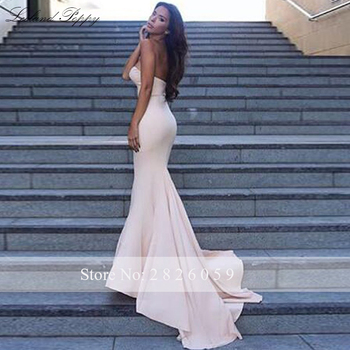 Lceland Poppy Strapless Mermaid Satin Evening Dresses Sleeveless Floor Length Formal Evening Gowns Sweep Train Robe de Soiree 4