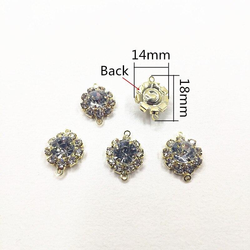 Image 2 - Nouveauté! 18x14mm 100 pièces clair strass griffe chaîne ronde forme connecteurs pour collier, boucles doreilles pièces, fait à la main bijoux bricolageBijoux et composants   -