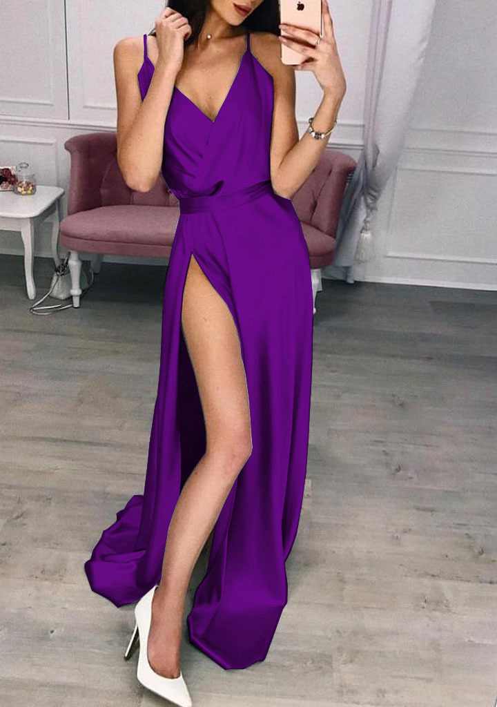 2019 AliExpress Europe And America Hot Selling Solid Color Slit Strap Dress Evening Gown Multi-color, Multi-Code