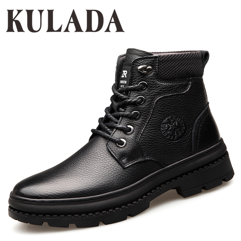 KULADA New Boots Men's Genuine Leather Waterproof Boots Men Casual Shoes Fashion Ankle Boots For Men High Top Winter Men Boots