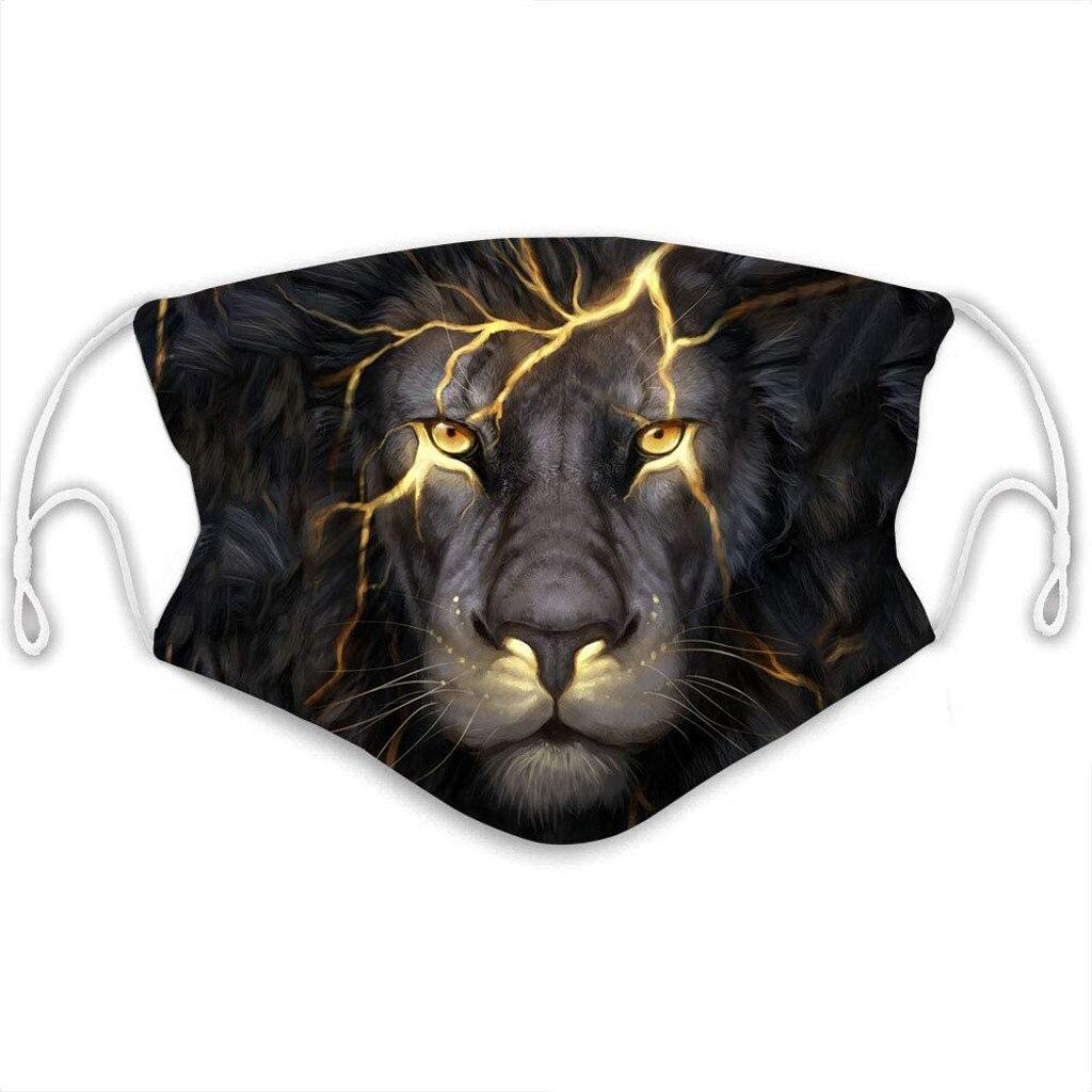 3D Print Face Mask Washable&Reusable Fashion Dust-Proof Masks Vintage Lion Wolf Dragon Black Protective Masque Maska Mascherine