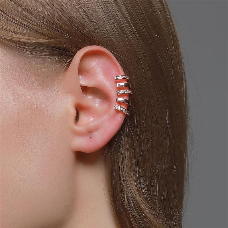 WUKALO Rose Gold Silber Farbe Ohr Manschette Für Frauen 1 pc Zirkon Clip Auf Ohrringe earcuff Ohne Piercing Ohrringe Schmuck