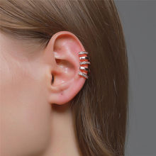 WUKALO Rose Gold Silver Color Ear Cuff For Women 1 pc Zircon Clip On Earrings earcuff Without Piercing Earrings Jewelry
