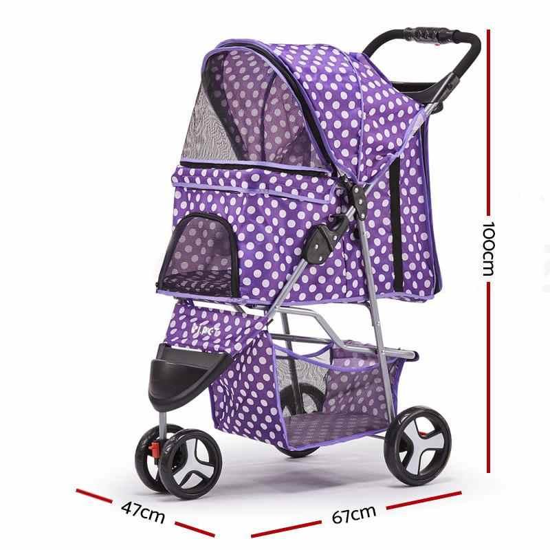 Lichtgewicht Vouw Hond Kinderwagen Trolley Kinderwagen Travel Carrier Puppy 3-Wielen Reizen Kooi Carrier Hond Kat Kinderwagen Huisdier wandelwagen