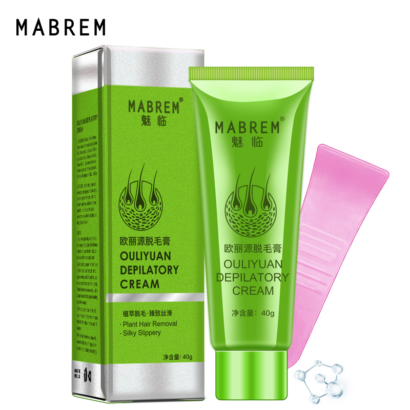 MABREM Hair Removal Cream Painless Hair Remover For Armpit Legs and Arms Skin Care Body Care Depilatory Cream 40g For Men Women image