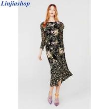 로스 미디 드레스 여성 2019 가을 뉴 플로랄 프린트 퍼프 슬리브 백리스 플러스 사이즈 스플릿 드레스