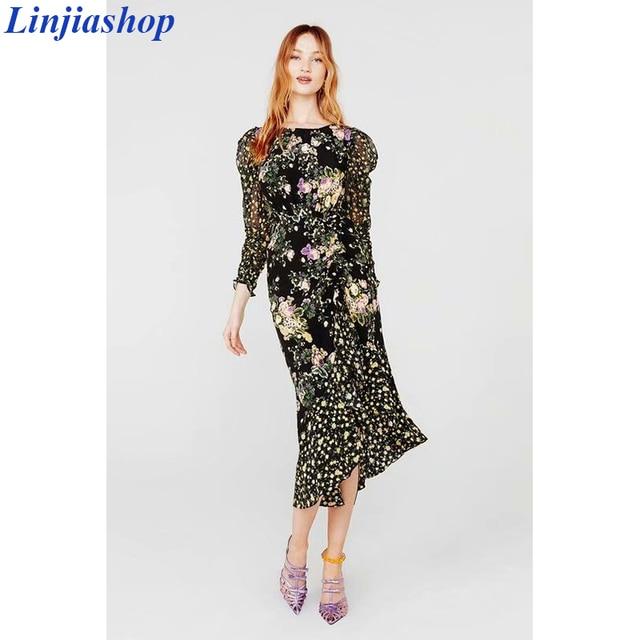 Ross midi dress women 2019 autumn new floral print puff sleeve backless plus size split dress