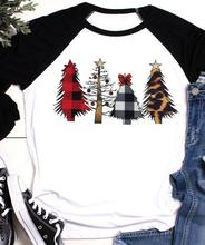 цены Christmas T Shirt Women Christmas Tree Print Top Three Quarter Sleeve Tees 2019 Autumn Winter Tee Shirts Raglan Sleeve Tee